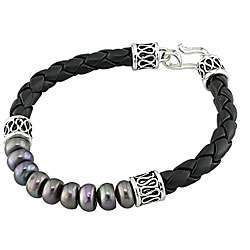 Cultured Black Pearl and Leather Bracelet (7 7.5 mm)