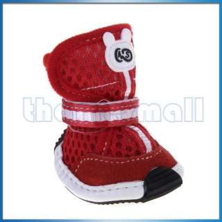 Red Pet Dog PU Leather Shoes Boots Mesh Apparel   L