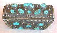 Old Pawn Sterling Silver Turquoise Bow Guard Cuff Bracelet