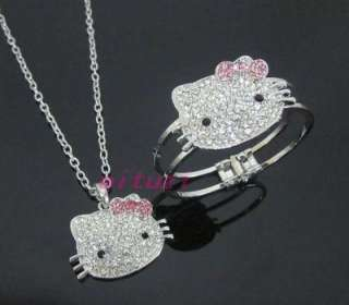 hello kitty pink bow necklace bracelet set 2items gift m25