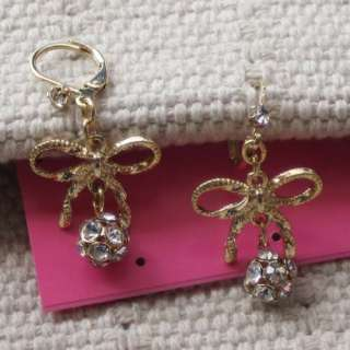 Johnson Pierced Earrings Gift Fashion Beautiful Bow Rhinestone Ball