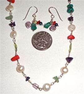 Amethyst Pearl Peridot Necklace Earrings Set Retired Box