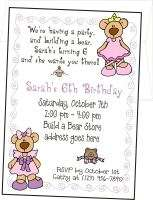 BUILD A BEAR   Personalized Birthday Party Invitation