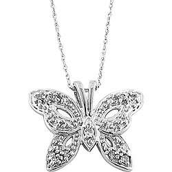 10k White Gold 1/10ct TDW Diamond Butterfly Necklace