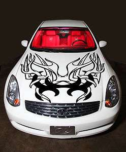 HOOD VINYL STICKER DECALS MURAL TRIBAL TATTOO CAR FLAMING SCULL 4X4