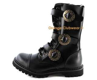 DEMONIA STEAM 12 Mens Steampunk Leather Combat Steel Toe Ankle High