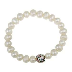 Freshwater Cultured Pearl and Multi Colored Crystal Fireball Bracelet
