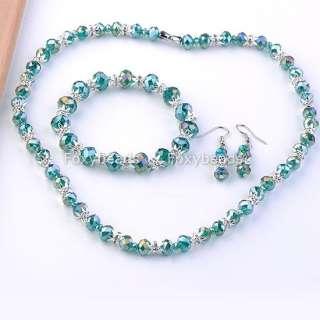 Glass Clear Crystal Cap Necklace Bracelet Earring Jewelry Set