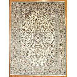 Hand knotted Persian Kashan Ivory/Beige Wool Rug ( 1211x 99