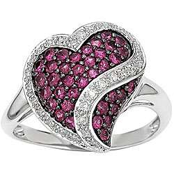 14 kt White Gold 1/6 ct Diamond and Ruby Heart Ring
