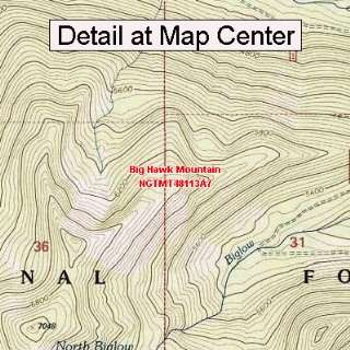 USGS Topographic Quadrangle Map   Big Hawk Mountain, Montana (Folded
