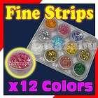 12 SHINY TINY MYLAR LASER SLIT STRIPS Nail Art Make Up
