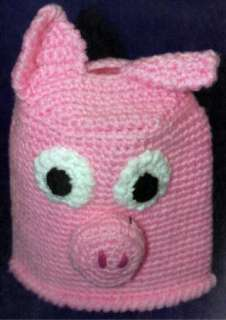 CROCHET PATTERN ONLY Pink Piggy Bank Coffee Can Cover Change Coin
