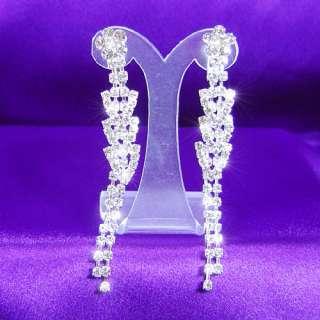 Bridal Party Rhinestone Pageant Dangle Earrings E1012