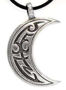 TRIBAL MOON Pewter Pendant Leather Necklace CORD Surfer