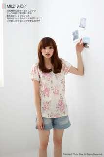 Japanese Korean cutie Girls Fashion Style Flower Rose Short Sleeve Tee