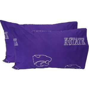 Kansas State Wildcats Printed Pillow Case   King   (Set of 2)   Solid
