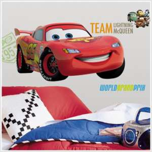 Giant 16 x 38.75 Lightning McQueen Wall Decal Cars 2 Grand Prix NEW