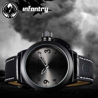 MILITARY Mens Police Army Quartz Wrist Watch Black Leather Strap