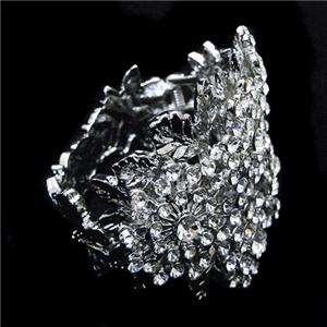 Flower Snowflake Bridal Bracelet Cuff Swarovski Crystal
