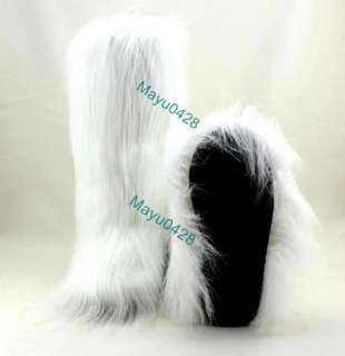 Black White Flat Faux Fur Furry Eskimo Winter Yeti Boot