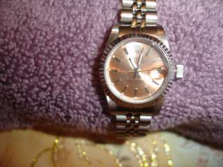 Rolex Oyster Perpetual Stainless Steel &18K Gold Case Womans Bracelet