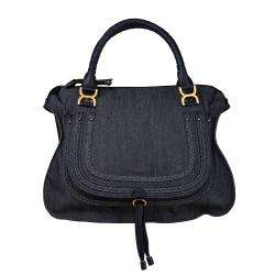 Marcie Large Denim Satchel Bag with Leather Trim
