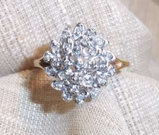 14k yellow gold diamond leaf cluster ring sz 6 1/4