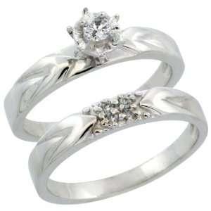 10k White Gold 2 Piece Diamond Engagement Ring Band Set w/ 0.11 Carat
