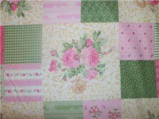 Ro Gregg Shabby Pink Green Cream Rose Cheater Patch Quilt Block Fabric