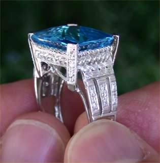 13.35 Carat Natural VVS Swiss Blue Topaz Diamond Ring 14K Gold
