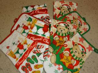 CHRISTMAS TOWEL SET CROCHET TOWEL + OVEN MIT OR HOT PAD   SELECT