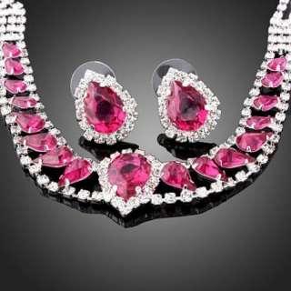 Swarovski fuchsia Crystal Gold GP necklace earrings Set