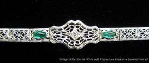 Antique Estate Deco Era 14k White Gold Filigree Diamond Bracelet c1920