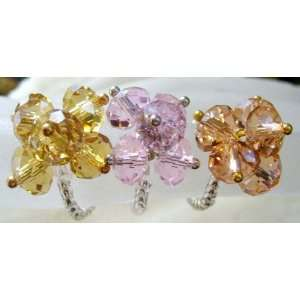 Three Colorful Faceted Crystal Quartz Flower Rings
