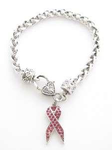 Pink Ribbon Breast Cancer Awareness Crystal Bracelet