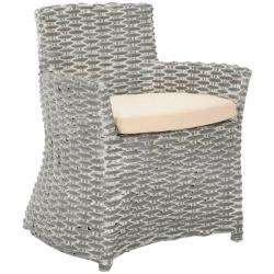 St Thomas Indoor Wicker Washed out Grey Arm Chair