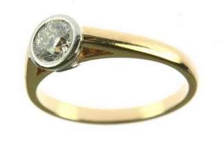 LADIES BEZEL SET DIAMOND RING 18K YELLOW GOLD PLATINUM