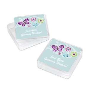 12 Personalized All Aflutter Aqua Favor Boxes   Party Favor & Goody