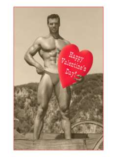 Happy Valentines Day, Muscle Man with Heart Posters at AllPosters