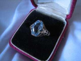 Art Deco GOLD FILIGREE RING w BLUE STONE womens, 14K, vintage