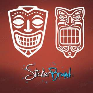 Vinyl Wall Decal Sticker Hawaiin Tiki Mask (Pair Set)