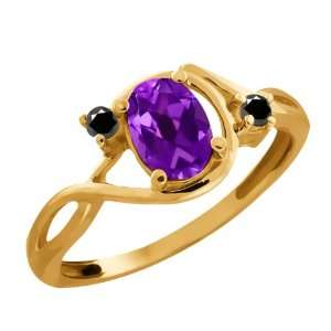 0.81 Ct Oval Purple Amethyst and Diamond Gold Plated