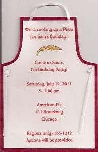 Apron Pizza Birthday Invitations Personalized