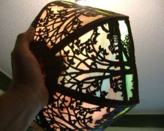 Elaborate Multi Color Salem Bro. Slag Glass Table Lamp Shade