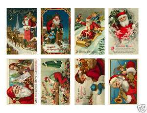 Vintage Old World Santa Claus Christmas Stickers 16