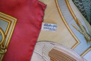 SALVATORE FERRAGAMO Pink+Blue *SILK* Birds Fowl Scarf Gold Scrollwork