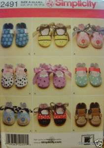 Simplicity 2491 Baby & Doll BOOTIES / SHOES PATTERN 9 Designs *NEW