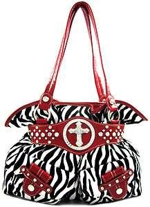 Velvety Zebra Rhinestone Bling Cross Stud Pockets Purse Handbag Red