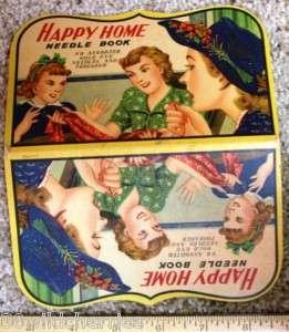 Vintage Needle Card Happy Home